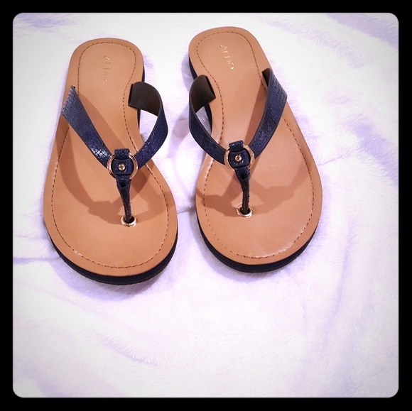 65bd455302f Aldo Shoes - Navy Blue Thong Sandals